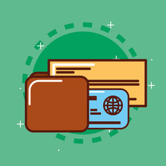 bank check wallet and credit card vector illustration
