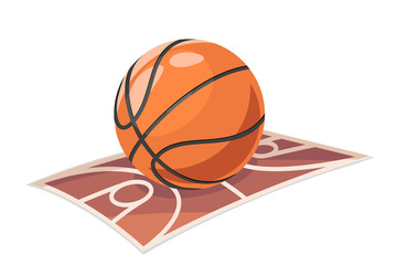 Basketball ball field sport cartoon isolated icon vector illustration