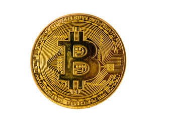 Bitcoin coin isolated on the white background