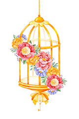 Romantic watercolor Birdcage with peony,rose,leaves,flowers,branches and bows.Watercolor bouquets for your design.Perfect for wedding,invitations,blogs,template card,Birthday,baby cards,greeting,logos