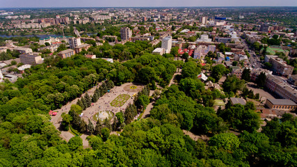 Aerial view of the city park.