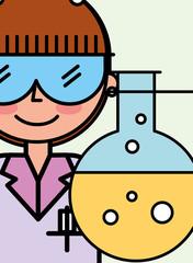 scientist woman cartoon test tube laboratory vector illustration