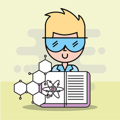 scientist man cartoon with glasses and medical book vector illustration