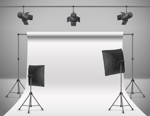 Vector realistic illustration of empty photo studio with blank white screen, lamps, flash spotlights, reflectors on tripods. Concept background with modern equipment for professional photography