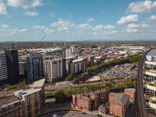 Manchester city centre NOMA drone green quarter above aerial view construction skyline