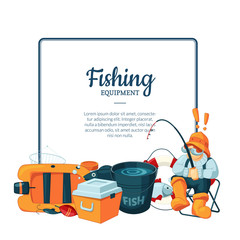 Vector with cartoon fishing equipment