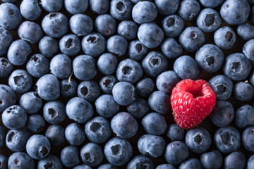Ripe and juicy fresh blueberries and raspberry .