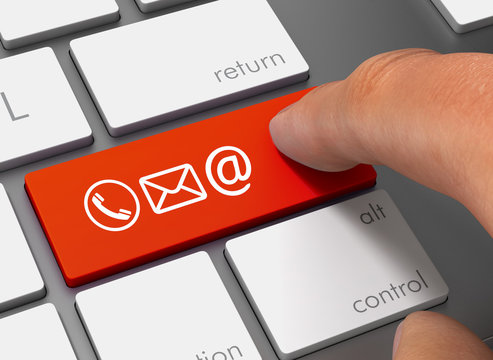 contact icons pushing keyboard with finger 3d illustration