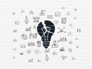 Business concept: Painted black Light Bulb icon on White Brick wall background with  Hand Drawn Business Icons