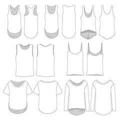 Vector template of various women's style shirts