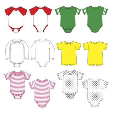 Vector template of colored style baby rompers
