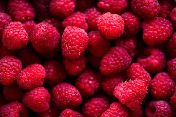 Fresh raspberries background with copy space. Top view, close up. Summer, vitamin, vegan, vegetarian concept. Healthy food. Macro of berries