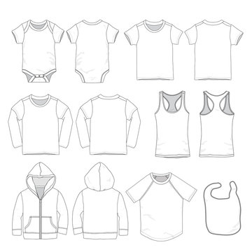 Vector template of various child/ infant/ baby clothes