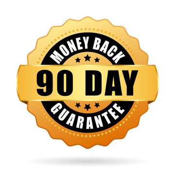 90 day money back guarantee gold icon