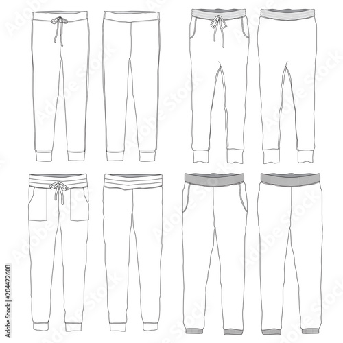 vector template of jogger pants