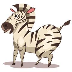 Zebra animal cartoon vector illustration isolated on white background.