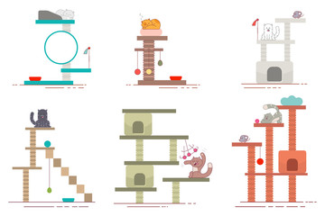 Cat tower and scratching post flat icons set. Vector collection of playground accessories for pets. Funny cartoon kittens character isolated on white background.