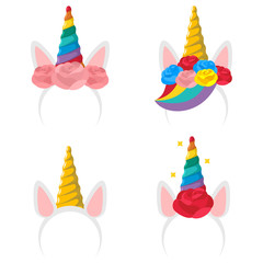 Unicorn headband cartoon icon set. Vector flat hair clip with a horn, ears, rose flower and rainbow isolated on a white background.