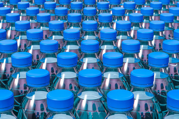 Background from plastic water bottles, 3D rendering