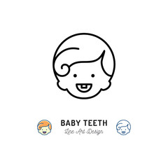 Baby Teeth Icon, Little boys with first tooth, child smiling. Children's dental care thin line icon. Vector flat illustration