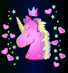 Magic character is an animal unicorn on a blue gradient background with stars, hearts and diamonds. Fun style - baby sticker neon unicorn - fairy tale time