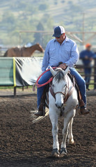 A cowboy in a roping arena.