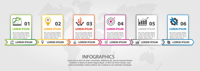Vector illustration. An infographic template with 6 steps and an image of six rectangles. Use for business presentations, education, web design. Place for text and icons