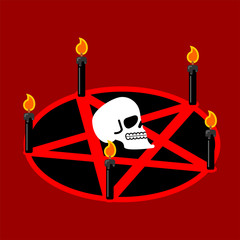 Pentagram of devil. Satan sign. Ritual symbol. Call daemon. Black candles. Vector illustration