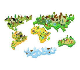 World map animal Isometric style. Earth continent flora and fauna. Vector illustration