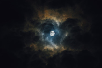 moon at night with clouds