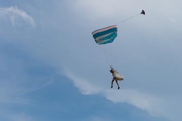 Parachutist with Blue Parachute against Clear Blue Sky