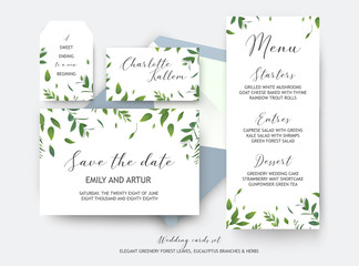 Wedding save the date, place card, label cards vector design. Botanical, greenery, rustic, watercolor style green leaves, eucalyptus tree branches, forest herbs & plants. Elegant, natural template set