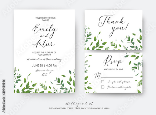 Wedding Invite Invitation Rsvp Thank You Cards Vector Art