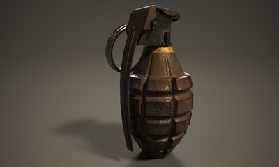 3D render. American grenade MK2 with rust. Isolated on dark background.