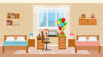 Children bedroom interior with two beds, holiday balloons, toys, table with desktop computer and window.