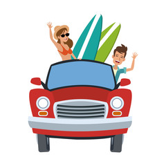 Car with surfers inside cartoon vector illustration graphic design