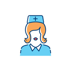 Woman doctor icon, Nurse icons, Medical assistant. Thin line art design, Vector flat illustration