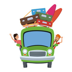 Car with luggage on top and passenger inside vector illustration graphic design