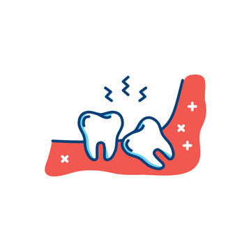 Wisdom tooth icon or third molar, toothache, jaw pain. Thin line art design, Vector flat illustration