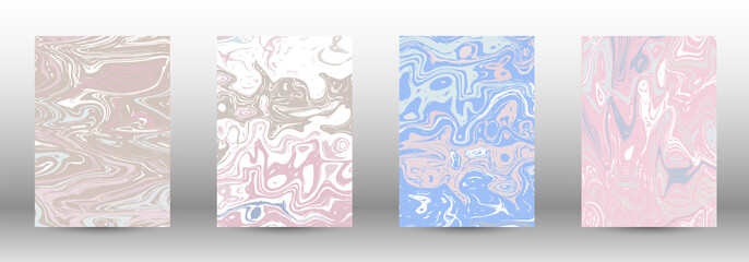 A set of modern covers. Abstract marble pattern.