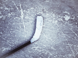 hockey stick on the ice texture background
