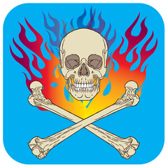 Skull flame icon turquoise