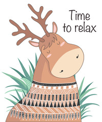 Vector cartoon sketch meditative deer illustration with motivation phrase