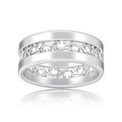 3D illustration isolated silver decorative carved out ornament ring with reflection