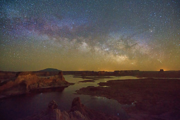 Night sky with the Milky Way above Lake Powell, Utah, USA.