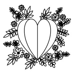 heart love with leafs and flowers vector illustration design