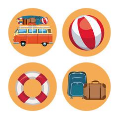 Set of summer elements in round symbols vector illustration graphic design