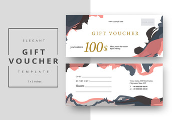 Gift Voucher Layout with Abstract Elements