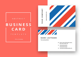 Business Card Layout with Red and Blue Diagonal Stripes
