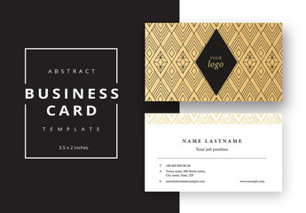 Business Card Layout with Repeating Geometric Outlines